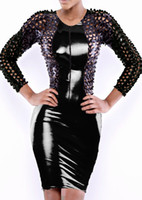 Street Style Mini Dresses Pencil Dresses 2014 Sexy Lingerie Club Wear Stage Wear Celebrity Bandage Bodycon Hole Punching Dresses Hot 782 Black