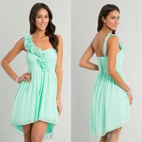Wholesale A Line Short Chiffon Florals Embellishment Mint Green Gown One Shoulder Dress Junior Prom Dresses