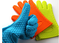 Wholesale Silicone BBQ Gloves Insulated Kitchen Tool Heat Resistant Glove Oven Pot Holder BBQ Baking Cooking Mitts Five Fingers Anti Slip Dots
