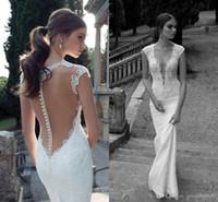 Trumpet/Mermaid Real Photos V-Neck ssj 2014 Berta Sheer Wedding Dresses Cap Sleeves with Buttons Floor Length