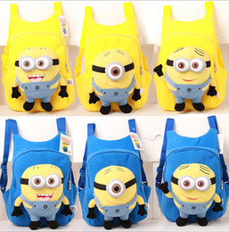 Wholesale Lovely Despicable Me god steal milk dad minions schoolbag styles plush toy cartoon yellow Blue Colours Backpack Best Christmas Children s