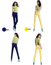 Wholesale 2014 Womens Low waist pants candy color Autumn and Winter casual clothes Slim pencil pants Render pants gifts