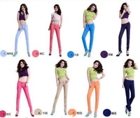 Wholesale 2014 Womens Low waist candy color Autumn and Winter casual clothes Slim pencil Render jeans Jeans gifts