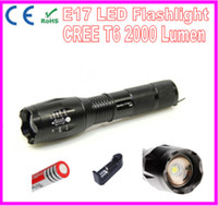 Wholesale Ultrafire E17 Cree Xm l T6 LED Flashlight Lumen Zoomable High Power LED Torch Light Rechargeable Lighting by x18650 or xAAA