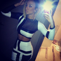 Wholesale Sexy Piece Bandage Dress Summer Black And White dress Bodycon Women Mesh Party Dress Night Club Wear Outfits
