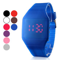 cheap children watches - Unisex Touchscreen Red LED Digital Bright Color Rubber Band Casual Wrist Watch mens womens children jelly candy watches cheap wristwatch