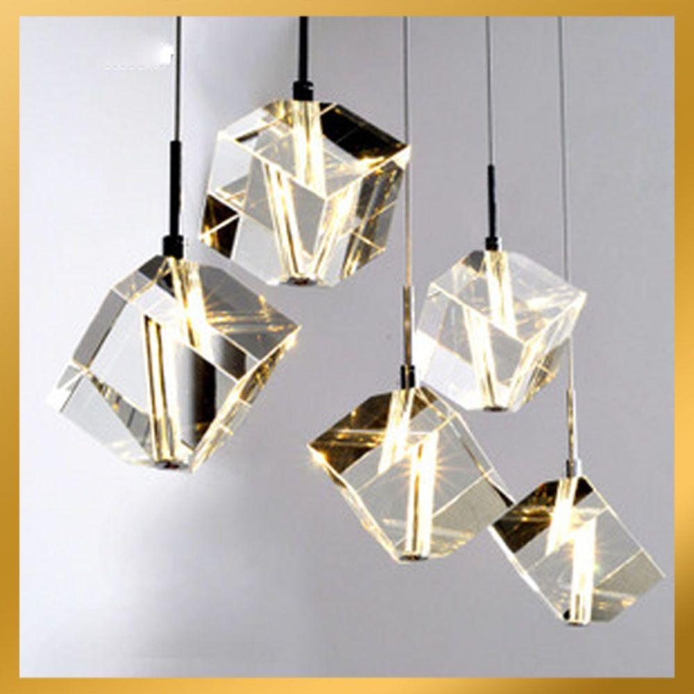 5 Lights Cubic Crystal Chandelier Light Pendant Lamp