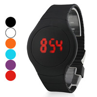 Fashion cheap children watches - Unisex Red LED Digital Round Rubber Band Wrist Watch Assorted Colors mens womens children jelly candy watches cheap china fashion wristwatch