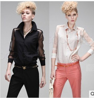 Casual Women Chiffon American Punk Style Solid Color Chiffon Long Sleeve Clothes Fashion Patchwork Perspective Shirt New For Women 2014