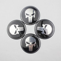 auto decals - 4 x Wheel Center Hub Cap Punisher Skull Emblem Badge Decal Sticker For Car Auto mm