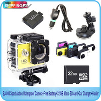 Sports Camcorders 2'' - 3'' 10x - 20x Free Shipping!! SJ4000 Sport Action Waterproof Camera+Free Battery+32 GB Micro TF card+Car Charger+Holder