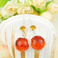 Whosale - - Top Quality Nature amber 925 Silver Earrings E0178