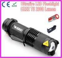 Wholesale CREE XM L T6 Ultrafire LED Flashlight Lumens High Bright Police LED Torch Lamp Mini Light Mode Portable Lighting For Battery
