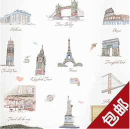 Wholesale Brand New Wall stickers The world famous landscape architecture Decorative Decal wallpaper Home decor travel sticker tourism wall