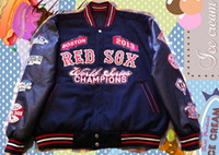 Wholesale MLB RED SOX Varsity Letterman Baseball jacket World Champions with Wool fabric PU sleeves and embroidered logos