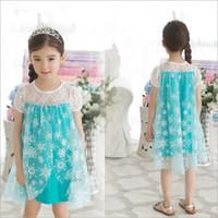 Wholesale 2014 Frozen children dress girls lace dress tutu skirt girls dresses children s snow Romance Korean children s clothes factory direct
