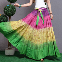 Cheap 2014 New 100% Cotton Tie Dyed Fancy Novel Mosaic Big Large Hem Full Circle Casual Womens Rainbow Long Maxi Skirts