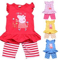 Wholesale 2014 summer two piece girls clothing sets peppa pig vest suit with shorts brand children s apparel