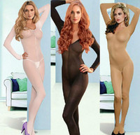 Firm crotch tights - sheer bodystocking Full Body pantyhose ultra thin transparent velvet long sleeve open crotch one piece Strap Tights Stocking