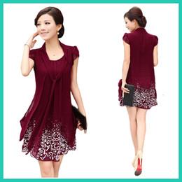 Wholesale New Causal fashion dresses women s plus size XL elegant high quality pretty dress knee length chiffon print dress