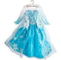 Wholesale 2015 Christmas Dress Elsa Summer Dress girls short sleeve Clothes decorate children Ball Gown unique pattern Elsa coronation robes Dresses