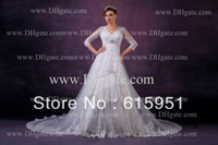 Other Reference Images V-Neck Real model tiered lace appliqued tulle chapel train V-neck tulle charming half sleeve wedding dress patterns 2014 JY330