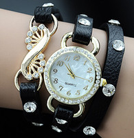 Unisex analog outlet - OUTLETS new style round bracelet watches Ms Quartz watch Hand woven multilayer wrist watch Charm jewelry LY