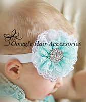 Wholesale 3 quot Double Lace Flower Headbands With Sparkle Rhinestone Center For Newborn Infnat Bbay Giirls BY omegle Hair Accessories