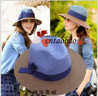 Wholesale fashion Women Classical Floppy Straw Brim Beach Hat lady girls ladies Sun Cap collapsible patchowrk colors