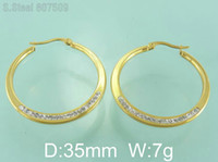 Wholesale Large Earrings Stainless Steel Jewelry For Women Fashion Crystal Hoop Circle Basketball Wives Earrings Hot G5E4119
