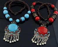 Wholesale Fashion Bohemia Wood Beaded Gemstone Necklace Female Dress Sweater Pendant Clothes Jewelry Freeshipping