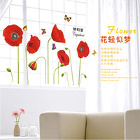 Wholesale 1 Set Red Beautiful Com Poppy Flowers Stickers D Mirror Wall Stickers Wall Decor Garderobe Balcony Armoire