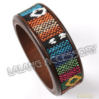 Bangle Unisex Fashion Eurpean Style Bracelet 6pcs lot Holiday Gift Unisex Wooden & Cloth Bangles Mixed colors Wholesale 310110