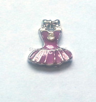 Clamps Fashion Charms Free Shipping!Hot Selling purple Skirt Floating Charms Wholesale For Glass Locket girl charms FT-480