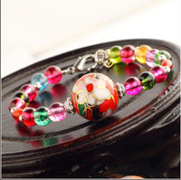 Slap & Snap Bracelets Unisex Fashion Chinese wind jewelry wholesale imitation tourmaline cloisonne color crystal bracelet, free shipping with min order $10