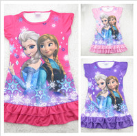 Wholesale IN STOCK FROZEN Elsa and Anna girl girls short sleeve pajamas nightgown sleepwear nightie dress nighty nighities
