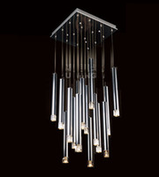Modern 85-265V LED Free shipping 2014 new brief modern square pendant 16 square tube aluminum stair crystal chandeliers