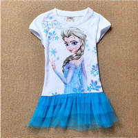 Wholesale New Frozen Baby Girls Clothing Casual Lace Cotton Party Beauty Princess White Blue Dress Flower Girl Dresses Year HBK82