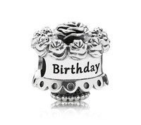 Metals Holidays, Seasonal Silver 925 Sterling Silver Birthday Cake Bead Fits European Style Pandora Jewelry Charm Bracelets