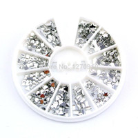 White mix Rhinestone & Decoration Wholesale-Min Mixed order $8 Free shipping Different Shapes Shiny Silver Metal Nail Art Decoration Alloy Nail Studs Cell Phone Accessorie