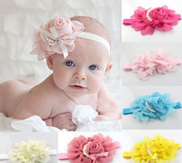 Lace adorable band - 2014 Baby Girls Kids Adorable Hair Bands Vintage Roses Pearls Flowers Infant Children Hair Accessories Pretty Headbands Multicolor B0151