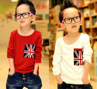 Wholesale 2014 New Retail UK Flag T shirt Baby Kids Boys Long Sleeves United Kingdom Flag T shirts Children s Clothing Tops Years HBK94