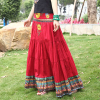 Floral maxi - Bohemia Autumn Spring Cotton Linen Embroidered Novel Fashion Casual Pleated Skirt Long Maxi Skirts For womens