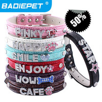 Wholesale Big Sale off Mix colors sizes Croc Pu leather Personalized DIY Name Charm Dog Pet Collar Pet Supplies Price exclude sliders