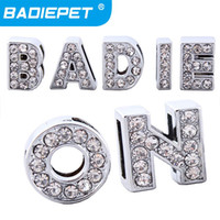 Wholesale 10 off for mm Crystal Block Letter Slide Charm A Z Personalized DIY Slider Letters for Dog Pet Collar Pet Supplies