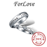 Wholesale 925 Sterling Silver Wedding Rings Couple Lovers Two Gifts CZ Diamond for Women mens Engagement Jewelry Forlove Real Pure x8 R160