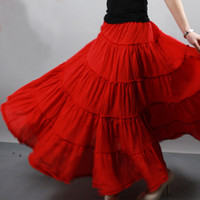 Wholesale 5 layer Stitching Gypsy Bohemian BOHO Full Circle Cotton Maxi Skirt Dancing Spain Pleated Long Skirts for Womens red black white