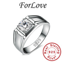 Men's mens sterling silver rings - 925 Sterling Silver Wedding Rings Two Gifts CZ Diamond for mens Engagement Jewelry Forlove Real Pure Genuine silver k7 R166