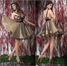 Wholesale Sexy Live wave Bien Savvy Party Dresses Charming See through V neck Lace Black Appliqué Organza V back Short Mini Prom dress