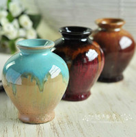 Wholesale Classic Ceramic Flower Vase European Color Flower Bottle Base Desktop Decoration SH648